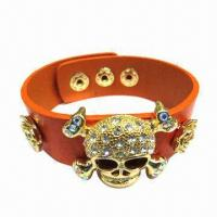 Wholesale Orange PU Leather Bracelet with Skull Heads Metal Accessory from china suppliers