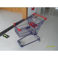 Wholesale Blue / Orange Retail Wire Shopping Trolley With 4 x 3 Inch Swivel Flat PVC Caster 75L from china suppliers