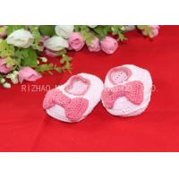 Pink Bows Accessories Handmade Crochet Baby Shoes For Girls , Knitted Baby Shoes