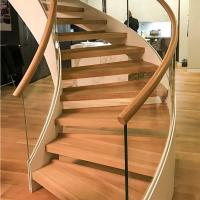 Wholesale New Style Curved Staircase Solid Wood Treads and Tempered Glass Railings from china suppliers