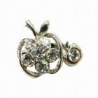 Wholesale Apple-shaped Metal Brooch with Shiny Rhinestones from china suppliers
