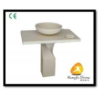 Xiamen Kungfu Stone Ltd supply Beige Marble Pedestal Sink For Indoor Kitchen,Bathroom for sale