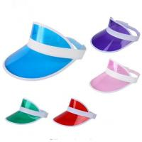 Wholesale Summer Unisex Sun Visor Hat Candy Color Transparent Empty Top Plastic PVC Sunshade from china suppliers