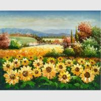 Wholesale Custom Palette Knife Sunflowers Oil Painting, Decorative Hand Painted Art on Canvas from china suppliers