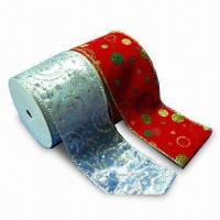 China Ribbon with Wire Edge, Suitable for Christmas Season on sale