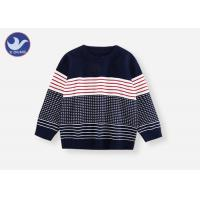 China Boys Crew Neck Sweater , Boys Red And Black Striped Jumper Comfortable Multi - Colored on sale
