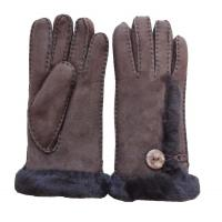 Wholesale Women soft fashion double face fur lined leather gloves ladies lamb fur gloves with button from china suppliers