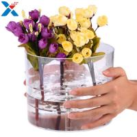 China Waterproof Acrylic Flower Box Makeup Organizer Holder Round Shape ROHS Approval for sale