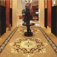 China Brown Flower PVC Carpet Flooring / Corridor Wilton Patterned Carpets for sale