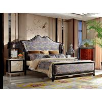 Wholesale Neoclassic design of Luxury Bedroom sets High end Bed Headboard in Glossy black wood with Golden painting Nightstands from china suppliers