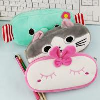 China Fashion Students Cute Stationery Pencil Case Rainbow Color Plush Pencil Bag for sale