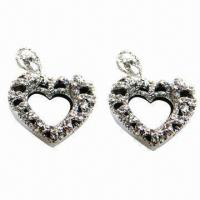 Wholesale Rhinestone Stud Earrings in Heart Design, Suitable for Parties/Anniversaries from china suppliers