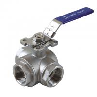 "Wholesale 1/2 to 2 inch Stainless Steel 304 316 flow Control ""T"" ""L""  3  way diverter ball valve with mounting pad from china suppliers"