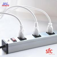 Quality Grounded 9 Outlet Metal Low Profile Plug Power Strip With Long Extension Cord for sale