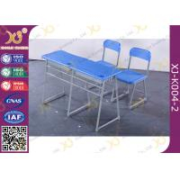 Buy cheap Double School Desk And Chair With Cabinet / Colorful Steel Frame Fixed from wholesalers