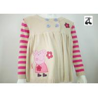 Wholesale Round Collar Acrylic Girls Knit Pullover Sweater with Cute Pepe Pig Cartoon Pattern from china suppliers