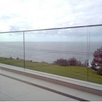 China Balcony pre-buried u channel glass balustrade terrace railing designs with removable handrail on sale