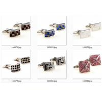 China Tailored Colorful Gold Engraved Cufflinks Round Crystal Engraved Different Logo for sale
