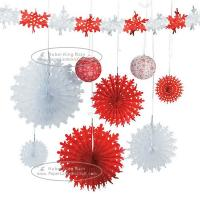 China Christmas Snowflake Paper Fan Round Folding Fans Hanging Party Home Decorations for sale