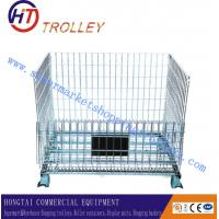 Wholesale Rigid Rolling Foldable Wire Mesh Storage Container Metal Box For Loading Garbage from china suppliers