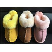 Buy cheap Ladies Genuine Sheepskin Slippers Mules Non Slip Hard Sole Womens winter Warm from wholesalers
