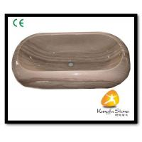 Xiamen Kungfu Stone Ltd supply Grey Wooden Vessel Marble Basin For Indoor Kitchen,Bathroom for sale