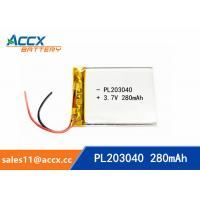 Wholesale 203040pl 3.7v lithium polymer battery with 280mAh ultrathin lipo battery for medical product from china suppliers