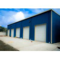 China Blue Light Steel Structure Building With Sandwich Panel / Prefab Metal Buildings for sale