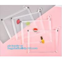 Custom Packaging Clear PVC Jelly Bag with Plastic Slider Ziplock PVC Storage Cosmetics Packing Bag, white logo small pla for sale