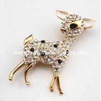 China Fashion Jewelry-Deer Shaped Crystal Brooch on sale