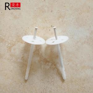 China White HDPE Plastic Insulation Fixings , Rigid Insulation Nails Custom Length on sale