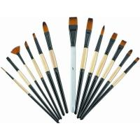 Wholesale Brown Round Tip Paint Brush , Acrylic Paint Brushes For Beginners Brass Ferrule from china suppliers