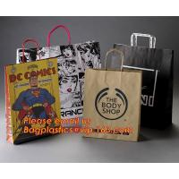 Luxury matte black shopping paper bag with logo UV for clothing packaging for sale