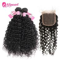 Quality Brazilian Natural Wave Human Hair Bundles With Closure No Shedding Healthy for sale