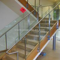 Wholesale Double Stringer Straight Staircase with Post Glass Railing and Satin s.s and Wood Tread from china suppliers
