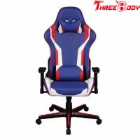 Wholesale Mobile Comfortable Computer Gaming Chair , Blue PU Leather Racing Seat Desk Chair from china suppliers