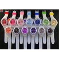 China Promotional White Wristband / Case Silicone Rubber Wristband Colored Dial Watch For Ladies on sale