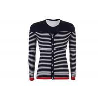 Wholesale V Neck Mens Knit Cardigan Sweater Button Down , Long Sleeves Striped Cardigan Jacket from china suppliers