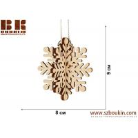 Wholesale Laser plywood 3D snowflake ornament, Xmas tree decoration, wood shape craft supply, unpainted DIY Christmas, winter wood from china suppliers