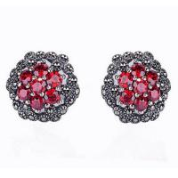 Wholesale Thai Silver Jewelry 925 Silver Red Cubic Zirconia Marcasite Stud Earrings (E11064RED) from china suppliers