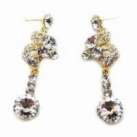 Wholesale Fashionable Stud Earrings with Large Clear Rhinestone Decoration from china suppliers