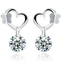 Wholesale Fashion Silver Plated Heart Stud Earrings with Cubic Zircon (EESTUD04) from china suppliers
