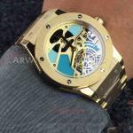 China Perfect Replica Hublot Yellow Gold Bezel Hollow Tourbillon Dial 45mm Watch for sale