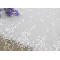 Wholesale Embroidered Edge Fabric White Floral Lace Vine Netting Tulle For Bridal Gowns from china suppliers