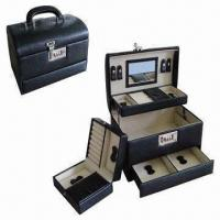 Wholesale Functional Jewelry Box with PU Lychee Faux Leather Surface, Removable Case and Soft Velvet Lining from china suppliers
