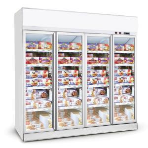 China Supermarket Upright 4 Glass Door Frozen Food Freezer, Commercial Display Fridge Freezer on sale