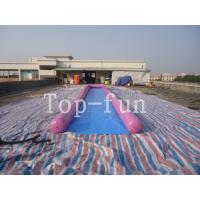 0.9mm PVC Tarpaulin Inflatable Big Air Slide / Circle / Blob For Water Purple or Blue