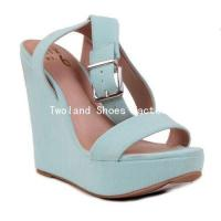 China Wedge Shoes Popular stylish women studed high heel wedge sandals shoes f on sale