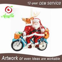 Buy cheap Blown Glass Christmas Santa Reindeer Ornaments For Xmas Tree Decorations from wholesalers