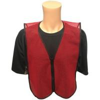 Wholesale Dark Red Open Mesh Plain Safety Vest with ZIPPER FRONT Small Size from china suppliers